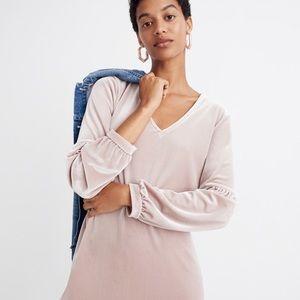 Madewell Velvet Balloon-Sleeve Dress, Size M, NWT